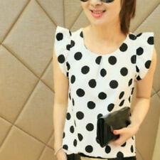 Women's T-shirt Polka Dot Top Short Sleeve Chiffon Blouse Casual Summer White