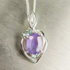 Natural Purple Sapphire &alexandrite 9ct 14k 18k yellow white Gold pendant