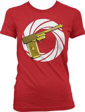 Golden Gun Movie Action Spy Shoot Gold Kill Secret Bullet Spiral Juniors T-Shirt