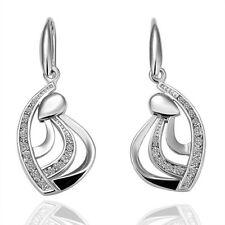 Edles Ohrringe mit schön eingearbeiteten Kristall Engelsflügel Weißgold Silber