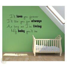 I will love you forever/citation d'amis brillant vinyle mur art décalque autocollant