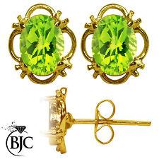 BJC 9 ct Oro Amarillo Natural Peridoto Individual Tacha Filigrana