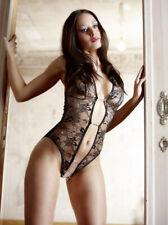 Body in pizzo nero glitter con strass aperto - Abierta Fina