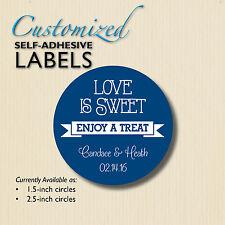 LOVE IS SWEET Enjoy a Treat-Chalkboard Stickers-Blue Wedding Favor-candy buffet