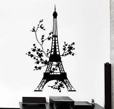 Wall Decal Paris France Eiffel Tower Flower Floral Vinyl Decal (z3138)