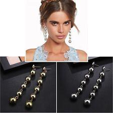 Gold And Silver Long Ball Tassel Drop Dangle Stud Earrings Jewellery Gift UK
