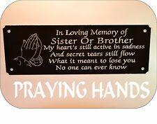Personalised Memorial Panchina Placca Insegna a pregare MANI qualsiasi formulazione U Wish 160x55