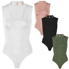 New Ladies Choker Neck Eyelet Embellished Sleeveless Leotard Bodysuit 8-22