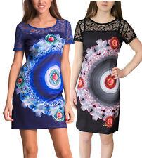 DESIGUAL SURPRISE DRESS 36-46 10-18 RRP�79 BLUE BLACK SHIFT CIRCLES LACE TOP