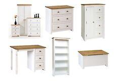 Capri White & Pine Bedroom Furniture - Bedside Drawers Wardrobe Desk Storage
