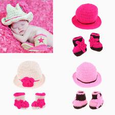 Newborn Baby Girls Boys Cowboy Crochet Knit Costume Photo Photography Props Suit