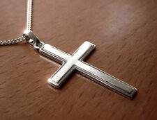 925 ECHT SILBER *** Kreuzkette schlichter Kreuz Anhänger 35mm  Kette opt