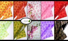 10 Bogen Geschenk Folie Rosen farbig bedruckt Blumenfolie transparent floristik