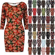 Womens Santa Christmas Xmas Printed Ladies Round Neck Bodycon Fitted Mini Dress