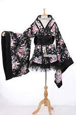 h-531-1 wa-qi LOLITA Kimono Giapponese nero fiori Cosplay Costume Set Giappone