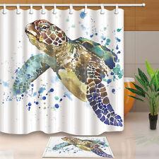 Bathroom Decor Sea Turtle Waterproof Fabric Shower Curtain Hooks Mat Set 71inch