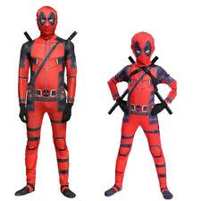 Adult/Kids Lycra Halloween Deadpool Cosplay Costume Zentai Bodysuit Jumpsuit set
