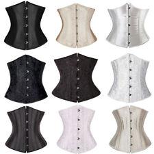 Plus Size Women Satin Gothic Bustier Top Lace Up Waist Training Underbust Corset