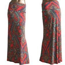 Maxi Skirt Yoga Fold Waist Silky Paisley Damask Print Coral Blue Teal  S M