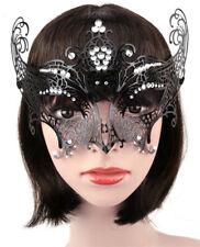 Máscara veneciano de metal negro cantidad, aristócrata con pedrería, baile masq