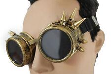 Men Costume Antique Gold Copper Steampunk Goggles Fashion Hard Plastic Spikes