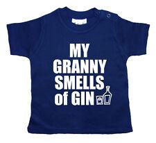 """Gracioso Camiseta para bebé """"My Abuela HUELE GIN """"Abuelita GRAN Niño Niña Ropa"""