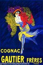 COGNAC GAUTIER FRERES DRINK GIRL GRAPES FRENCH CAPPIELLO VINTAGE POSTER REPRO