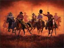Ceramic Tile Mural Backsplash Shower Sorenson Western Cowboy Art RW-JS044