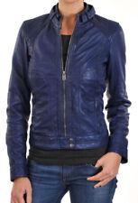 New Leather jacket Women's Vintage motorcycle coat biker lambskin Outwear 322
