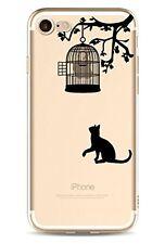 iPhone 7  Coque transparente souple fantaisie ( Le Chat et La Cage )