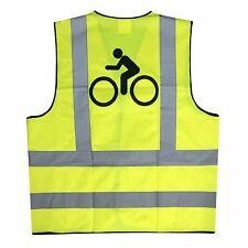 Adulte Jaune Hi Vis réfléchissant velcro Cyclisme/équitation Gilet de sécurité-BIKE