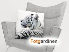 "Foto-Kissenbezug ""weißer Tiger"", Kissenhülle mit Motiv, 3D Fotodruck, auf Maß"
