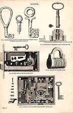 1868 PRINT ~ LOCK ~ KEY FROM POMPEII HERCULANEUM BRAMAH HOBBS & CO BANK PUZZLE