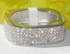 TS346p Argento Sterling Anello Di Diamante simulate Micro Pave Eternity Band Matrimonio