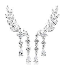 1 Pair Delicate Women Crystal Leaf Ear Cuff Climber Crawler Ear Studs Earrings