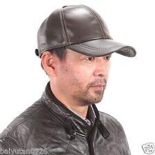 New Men's / Women's 100% Real Leather Hat/Golf Hats/Baseball Cap * Black@Brown