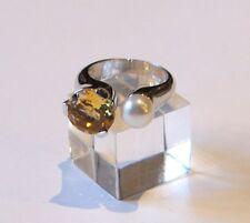 Edelsteinring Ring  Silberring 925 mit Echte Perle und Citrin