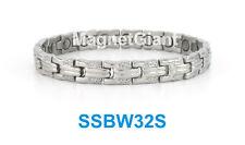Silver - Women magnetic stainless steel link bracelet for health & beauty