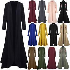 Da Donna VOLANT RUFFLE 3//4 manica Duster Coat Donna Plain Aperto Davanti Blazer