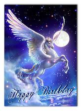 C049; Grande Personalizzato Compleanno Carta; su misura per qualsiasi nome; Cavallo Pegasus