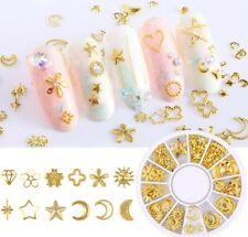 Mixed Shape 3D Nail Art Charm Decoration Accessories Studs Gems Gold Color heart