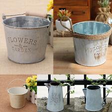 Vintage Basket Bucket Planters Pot Metal For Plant and Flower Home Garden Decor