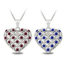 925er Silber Created Edelstein & Diamant Akzent Herz MEDAILLON-Halskette -