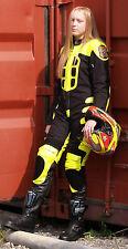 Bebé Motociclista Velocidad Demonio Niños Motocicleta Minimoto mitad Cuero Carrera Traje Amarillo T