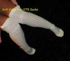 Cable Knit Rib Knee High Hi Socks Women OTK Long School Girl Over The Boot Ivory