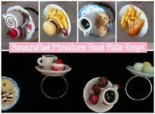 Funky Kitsch Anillos de placa de comida en miniatura-Hecho a Mano-Ajustable-en Caja De Regalo