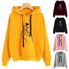 Women Sweatshirt and Hoody Ladies Love Heart Finger Hood Casual Hoody
