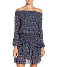 NWT $155 Michael Kors Charlton Print Blouson Dress New Navy M L XL