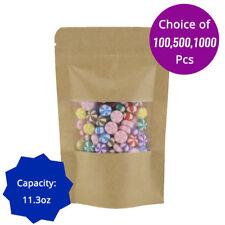 11.3oz Rounded Top Corner Kraft Paper Stand up Zip Lock Bag w/ Window K04