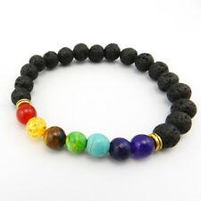 Muti-color Mens Bracelets Black Lava 7 Chakra Healing Balance Beads Bracelet ...